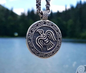 The Raven Banner Pendant Viking Raven Pendant Sterling Silver Viking Pendant Raven Necklace Norse Viking Necklace Viking Jewelry