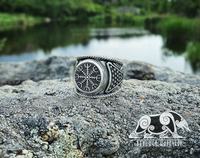 Helm of Awe Ring (Aegishjalmur Ring) Viking Ring Sterling Silver Ring Scandinavian Norse Viking Jewelry (from Eketorp, Sweden)