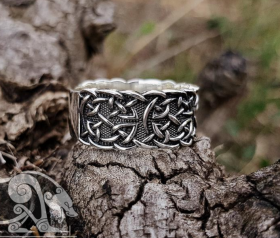 Wide Viking Ring with Traditional Viking Ornament Viking Jewelry Sterling Silver Ring Scandinavian Norse
