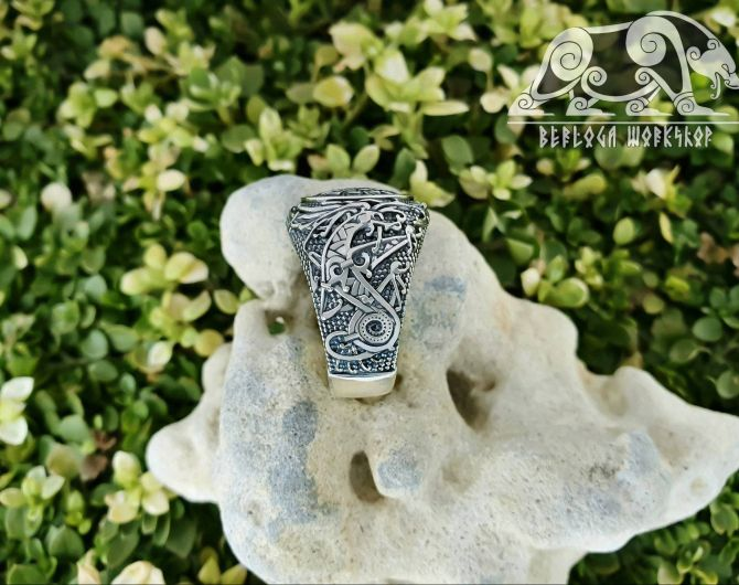 Viking Shield Knot Ring Viking Ring Ringerike Style Sterling Silver Ring Viking Deer Ring Scandinavian Norse Ring Viking Jewelry  1