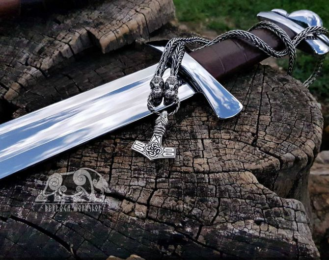 Set Dragons Heads Viking Necklace with Thor