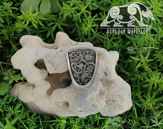 Valknut Ring Viking Ring Mammen Style Sterling Silver Ring Scandinavian Norse Viking Jewelry (based on mammen axe)