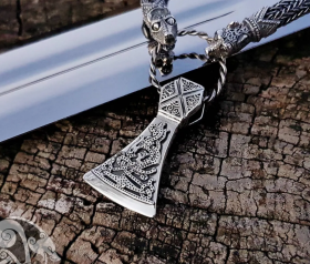 Viking Axe Pendant Sterling Silver Viking Necklace Scandinavian Norse Viking Jewelry (Mammen Stylization) (2)