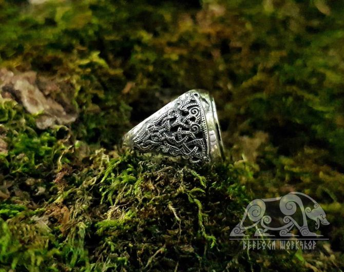 Siegfried and Fafnir Viking Ring Mammen Style Sterling Silver Sigurd and Fafnir Scandinavian Norse Ring Viking Jewelry