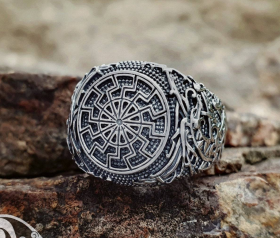 Black Sun Ring Viking Ring Ringerike Style Sterling Silver Ring Viking Deer Ring Scandinavian Norse Ring Viking Jewelry
