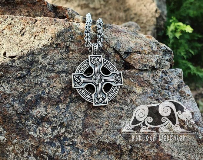 Celtic Cross Pendant Sterling Silver Celtic Necklace Norse Celtic Jewelry (Celtic Cross, Helensburgh, Scotland )
