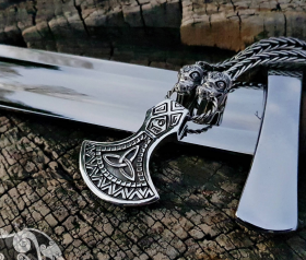 Set Dragons Heads Viking Necklace with Massive Viking Axe Pendant Replica Sterling Silver Viking Necklace Scandinavian Norse Viking Jewelry