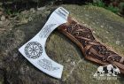 """Hand forged Viking axe with carved handle """"Grusom bjorn"""" and wooden box"""