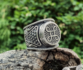 Viking Shield Knot Ring Massive Solid Viking Ring Shield Ring Sterling Silver Ring Scandinavian Norse Viking Jewelry (from Eketorp, Sweden)  (1)
