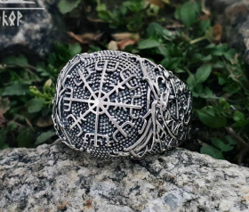 Vegvisir Ring Viking Ring Ringerike Style Sterling Silver Runic Compass Ring Vegvisir Viking Deer Scandinavian Norse Ring Viking Jewelry