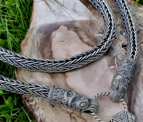 Best Chain Strong and Flexible Raven Heads Viking Necklace Viking Chain Sterling Silver (Viking Replica Denmark, X century) Viking Jewelry