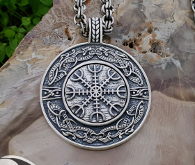 Helm of Awe Pendant (Aegishjalmur) Viking Pendant Sterling Silver Viking Necklace Scandinavian Norse Viking Jewelry (Tandgarve, Sweden)