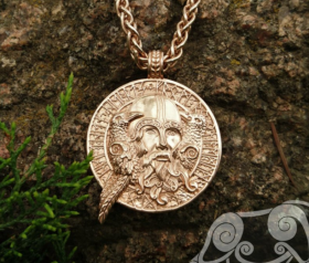 Gold Odin with ravens, Gold 18K Viking Pendant Viking Amulet Ravens Hugin and Munin Pendant Scandinavian Norse Viking Jewelry Odin Pendant