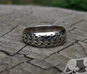 Viking Ring with Traditional Viking Ornament Norse Sterling Silver Ring Scandinavian  Viking Jewelry
