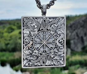 Helm of Awe Pendant (Aegishjalmur Pendant) Great Detailed Sterling Silver Norse Viking Necklace Viking Jewelry (based on portal stave church Borgund)