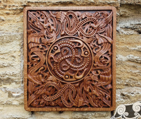 Viking Ravens Vendel Wood Carving Viking Decor Wall Hanging Great Detailed Norse Oak Wall Woodwork (based on portal stave church Borgund)