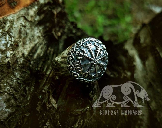 Vegvisir  Viking Ring Vegvisir Ring Viking Ring  Sterling Silver Runic Compass Ring Scandinavian Norse Ring Viking Jewelry