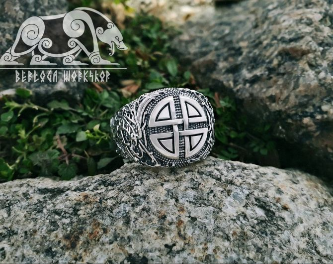 Viking Shield Knot Ring Viking Ring Ringerike Style Ring Sterling Silver Ring Viking Deer Ring Scandinavian Norse Ring Viking Jewelry  2