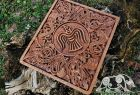 Raven Banner Wood Carving Viking Decor Wall Hanging Great Detailed Norse Oak Wall Woodwork (based on portal stave church Borgund)