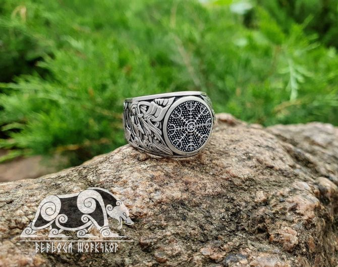 Helm of Awe Ring (Aegishjalmur Ring) Viking Ring (design based on portal of stave church Borgund) Sterling Silver Norse Ring Viking Jewelry