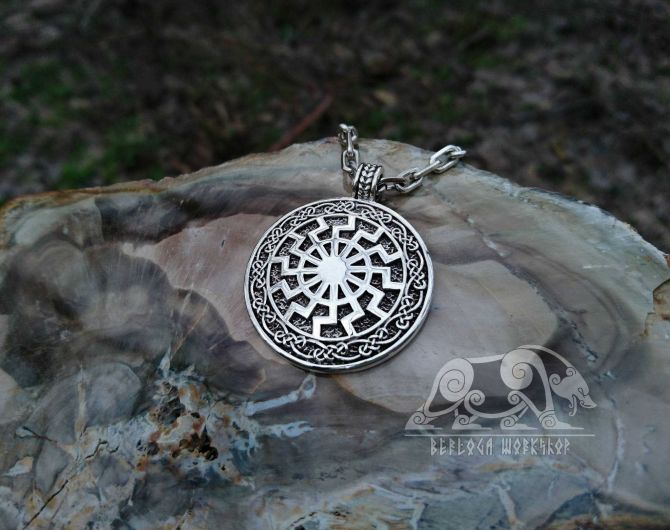 Black Sun Pendant Viking Necklace Black Sun (Sonnenrad) Viking Pendant Sterling Silver Viking Necklace Scandinavian Norse Viking Jewelry
