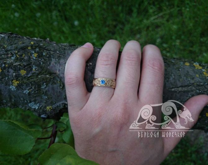 Exclusive Handcrafted Viking Ring Gold 18K Sapphire Slavic Ring Scandinavian Norse Viking Jewelry