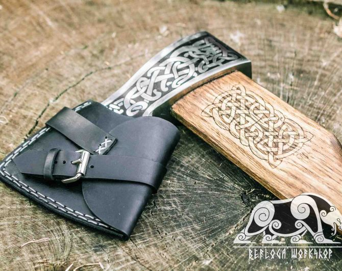 """Hand forged Viking axe """"Blithe Knutr"""" with leather case"""
