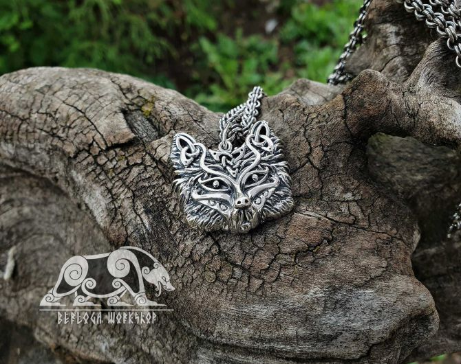 Fox Viking Pendant Sterling Silver Fox Pendant Viking Necklace Scandinavian Norse Fox Necklace Viking Jewelry