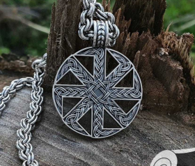 Kolovrat Slavic Pendant Amulet Sterling Silver Necklace Norse Viking Jewelry (A star of Russ)