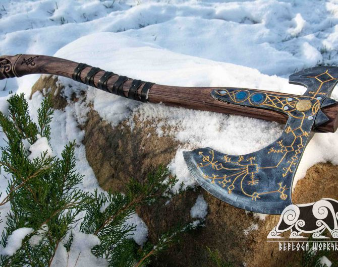 Hand-forged Leviathan axe with leather wrap and wooden box