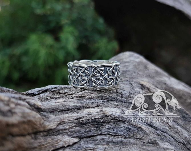 Wide Viking Ring with Traditional Viking Ornament  Scandinavian Sterling Silver Ring Norse Viking Jewelry