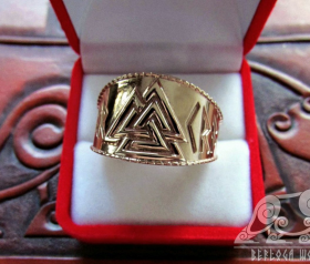 Gold Valknut Viking Ring 14K Gold Ring Scandinavian Norse Viking Jewelry