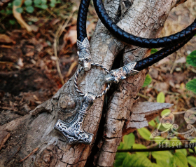 Set Braided Leather Cord Wolf Viking Necklace With Thor