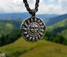 Dajbog Slavic God of Sun Dazbog Slavonic Pendant Amulet Sterling Silver Necklace Norse Viking Jewelry