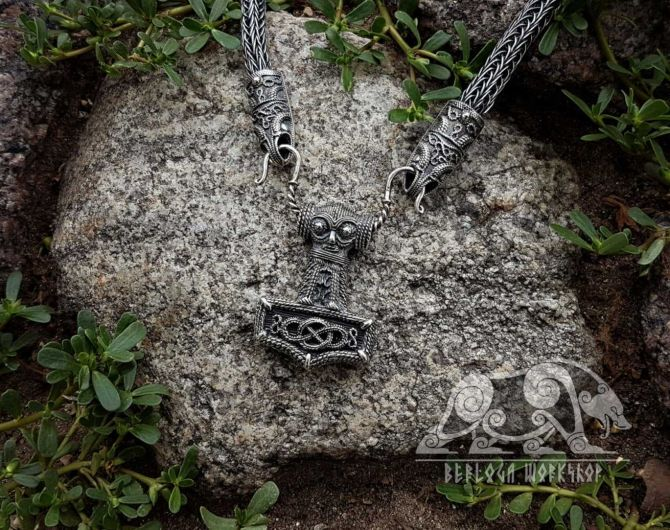 Set Raven  Viking Necklace with Thor