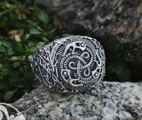 Vendel Ravens Ring Viking Ring Ringerike Style Sterling Silver Ring Viking Deer Ring Scandinavian Norse Ring Viking Jewelry