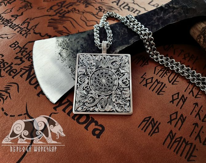 Black Sun Pendant Viking Pendant Great Detailed Sterling Silver Norse Viking Necklace Viking Jewelry (based on portal stave church Borgund)