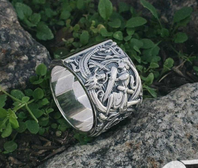Siegfried (Sigurd) and Fafnir Ring (design portal plank from Hylestad stave church) Viking Ring Sterling Silver Norse Ring Viking Jewelry