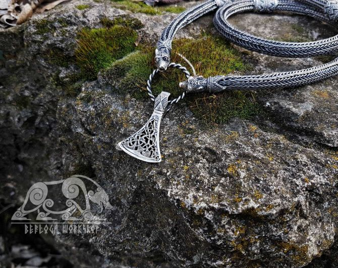 Viking Axe Pendant Sterling Silver Viking Necklace Scandinavian Norse Viking Jewelry (Mammen Stylization) (1)