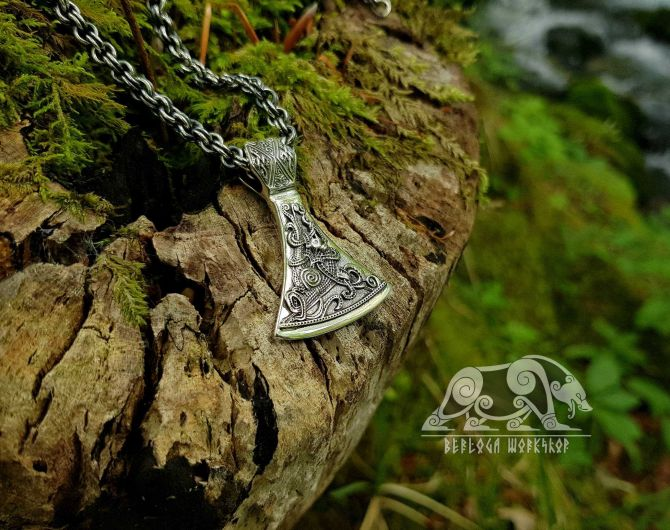 Viking Axe Pendant Sterling Silver Viking Necklace Scandinavian Norse Viking Jewelry (Mammen Stylization) (3)