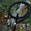 Dragon Viking Necklace Oseberg Braided Leather Dragons Cord Sterling Silver Necklace Scandinavian Norse Viking Jewelry