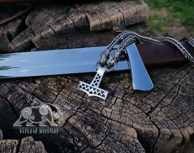 Set Dragons Heads Viking Necklace with Mjolnir Pendant Thor