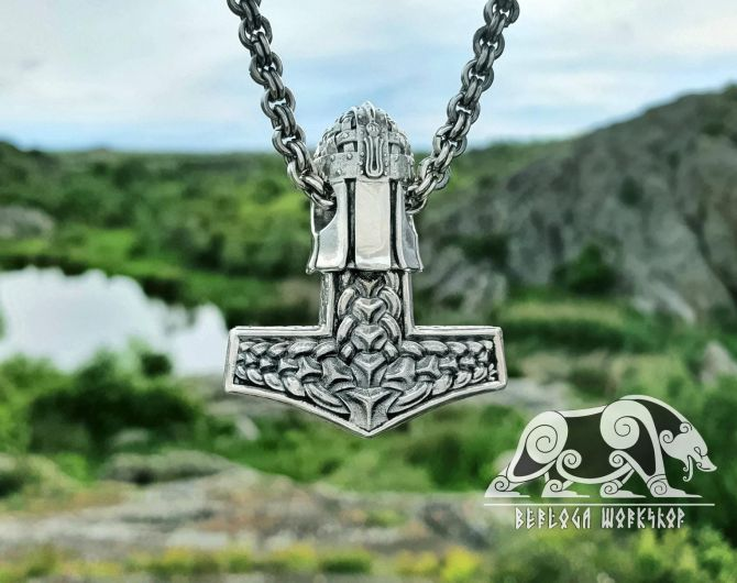 Set Raven Heads Best Chain Viking Necklace with Skull Thor