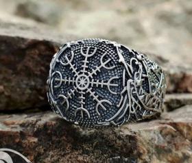 Helm of Awe Ring Aegishjalmur Ring Viking Ring Ringerike Style Sterling Silver Ring Viking Deer Norse Viking Jewelry