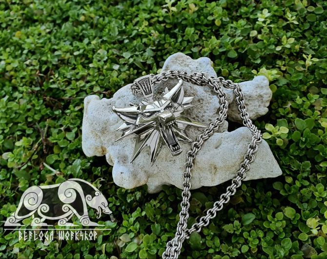 Witcher Pendant Sterling Silver Geralt Medallion Wolf Pendant Witcher Medallion Wolf School