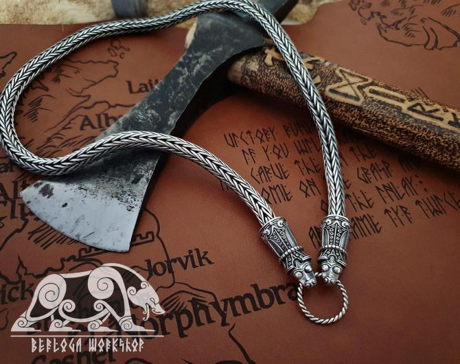 Best Chain Strong and Flexible Wolfs Heads Viking Necklace Replica from Mandemark Sterling Silver Chain Scandinavian Norse Viking Jewelry