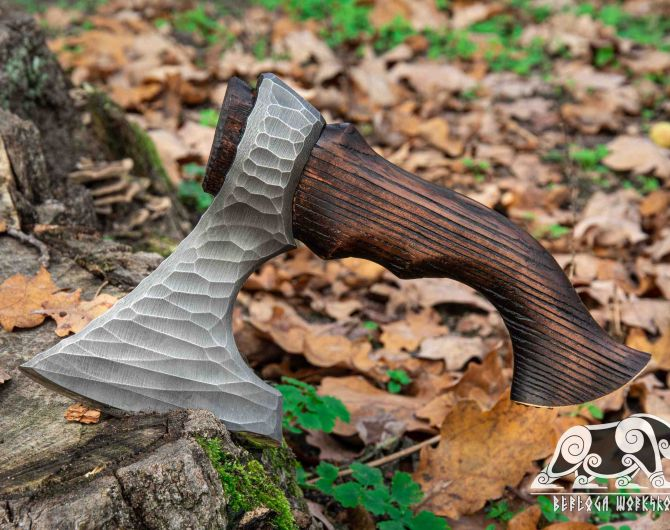 Hand-forged hatchet Stribog with leather cover and wooden box