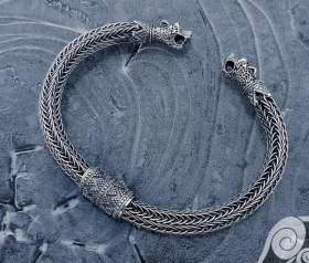 Wolfs Heads Bracelet (with silver rod inside) Oseberg Sterling Silver Viking Bracelet Scandinavian Norse Viking Jewelry
