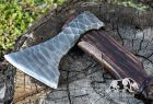 """Hand Forged Viking Axe """"Veles"""" with leather wrap on the handle and wooden box"""