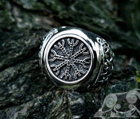 The Helm of Awe Ring (Aegishjalmur Ring) Viking Ring Mammen Style Sterling Silver Ring Scandinavian Norse Viking Jewelry